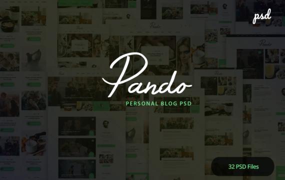 Pando-个人博客PSD模板
