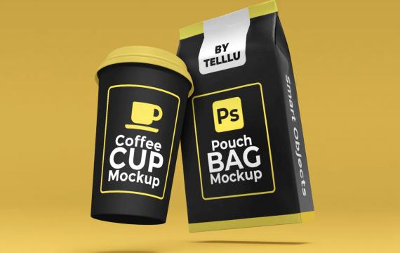 浮动咖啡杯和袋袋样机