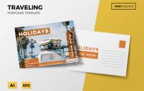黄色旅游明信片