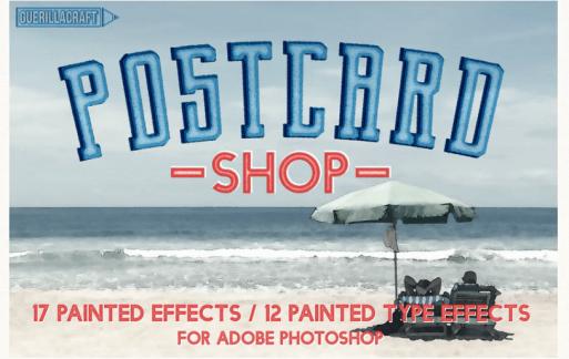 用于Adobe Photoshop的明信片店