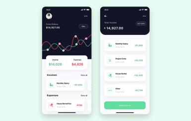素描的财务应用程序UI模板工具包设计