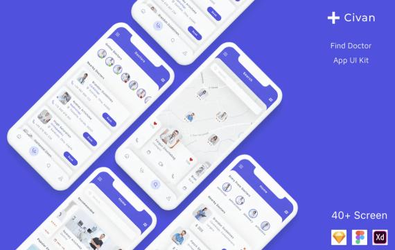 Civan-查找医生应用UI界面设计套件