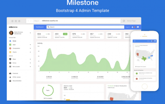 Milestone-Bootstrap 4管理模板