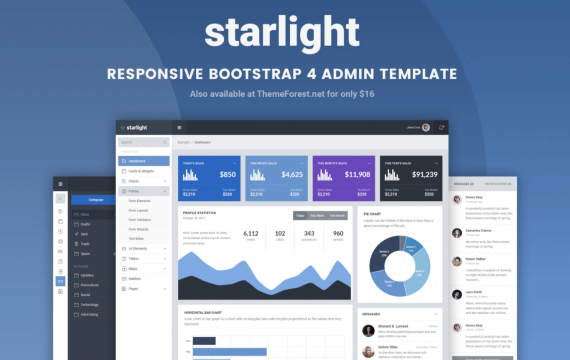 Starlight响应式Bootstrap 4管理模板