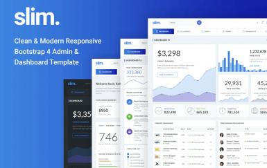 Slim Clean&Modern Bootstrap 4管理模板和仪表板