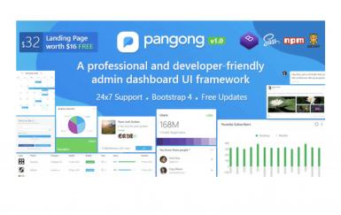 Pangong-开发人员友好的Bootstrap 4管理模板