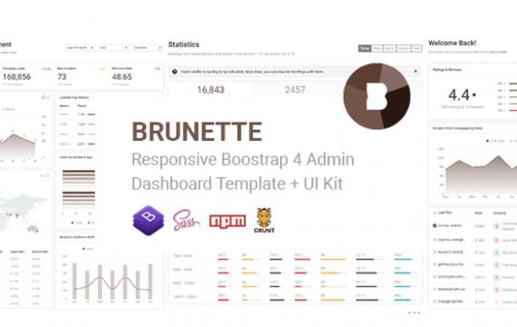 布鲁内特-Bootstrap 4管理和功能强大的UI套件