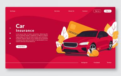 汽车保险-网站标题和矢量模板GR