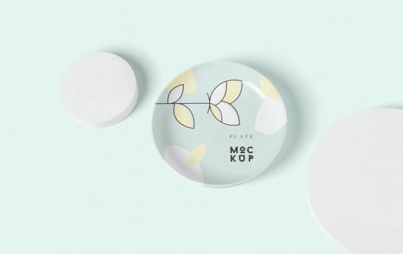 圆形陶瓷板样机模板样机展示免费下载