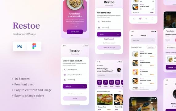 Restoe-餐厅食品应用程序设计Figma和PSD APP ui素材下载