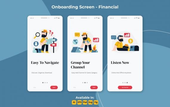 金融播客应用程序入职屏幕插画引导页
