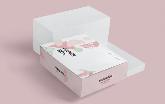 宽矩形纸箱模型包装盒模型样机展示下载