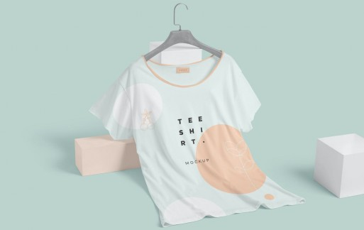 宽领半袖T恤样机短袖样机展示模板下载