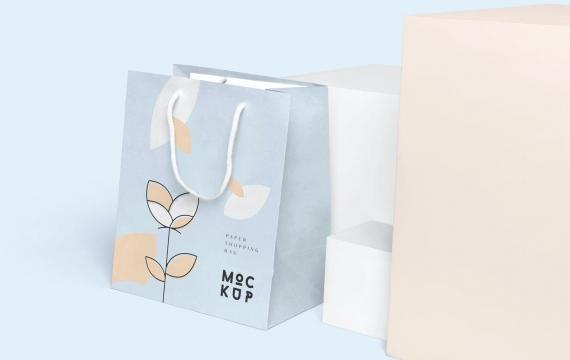 细长矩形纸购物袋样机展示下载