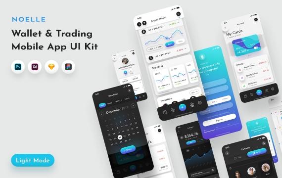 Noelle钱包和C-currency移动应用UI套件 金融钱包APP模板