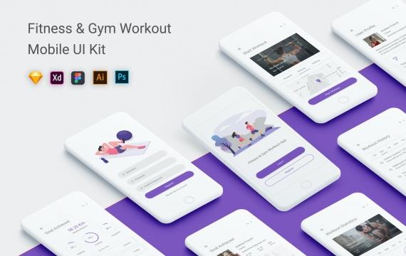 健身和健身房锻炼UI套件移动应用App模板