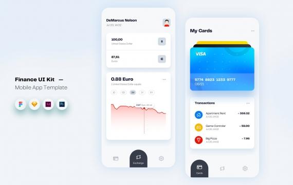 财务货币移动应用程序UI套件模板