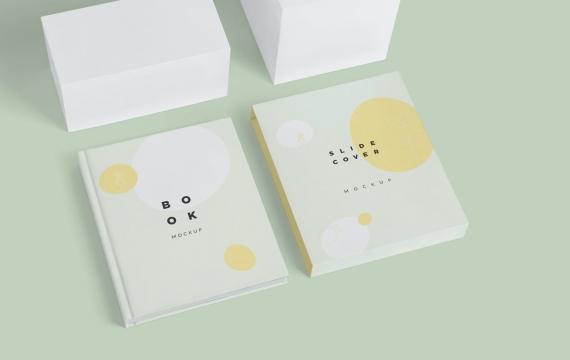 精装书幻灯片封面模型样机展示下载