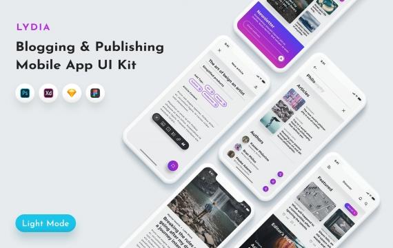 Lydia Blogging UI套件 新闻媒体APP界面设计模板