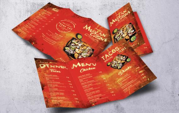 墨西哥美食A4红色菜单模板