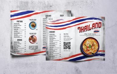 泰国菜美食复古菜单Bifold A4