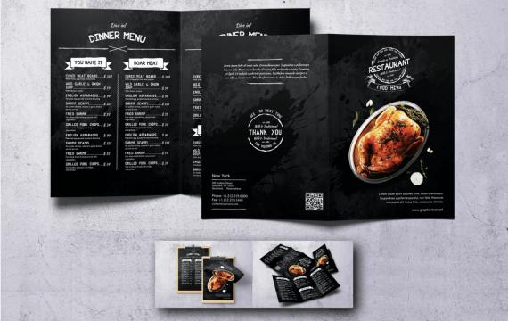 复古野生食品黑色背景菜单