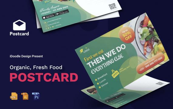 有机,新鲜食品明信片