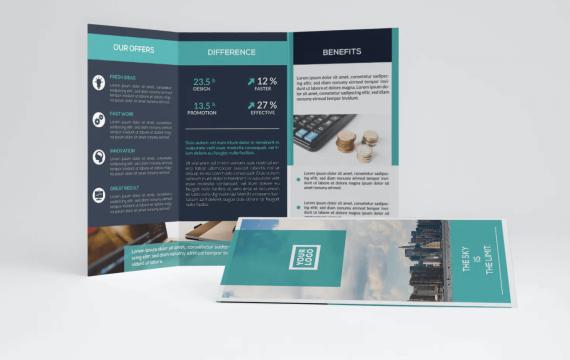 蓝色企业三析页手册模板