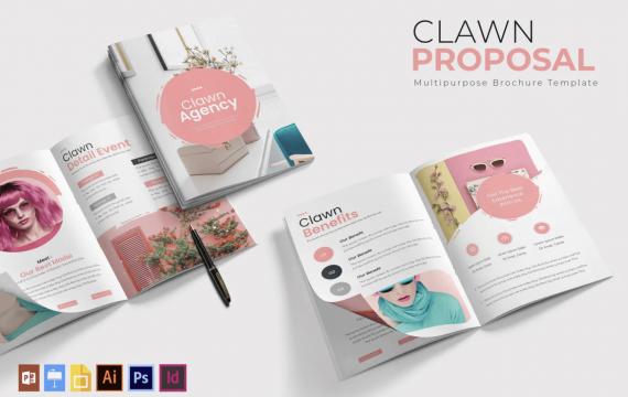 克拉尼| 粉色宣传手册模板