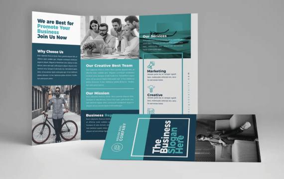蓝色商务三折页小册子宣传手册模板