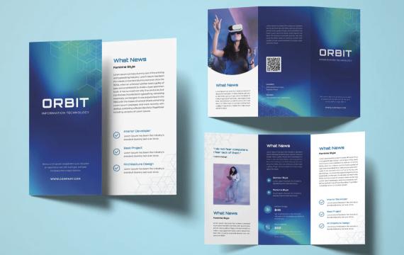技术VR蓝色三折页小册子宣传手册模板