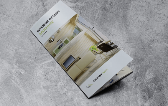 室内设计三析页小册子宣传手册模板