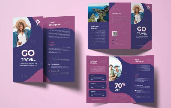旅游三折页小册子紫色宣传手册模板