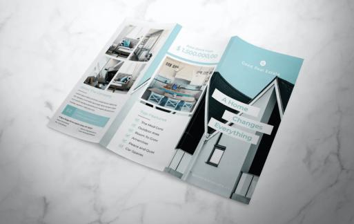 房地产三折页小册子宣传手册模板