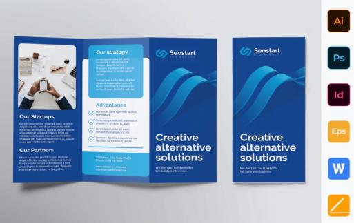 SEO代理商蓝色宣传手册模板Trifold