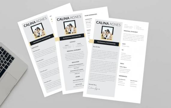 Calina照片设计师简历简洁求职简历模板下载