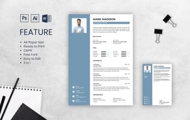 个人简历青色求职面试履历表简历模板