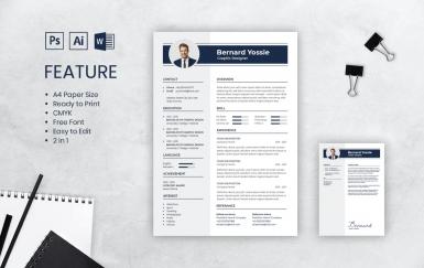 个人简历蓝色商务履历表简历模板下载