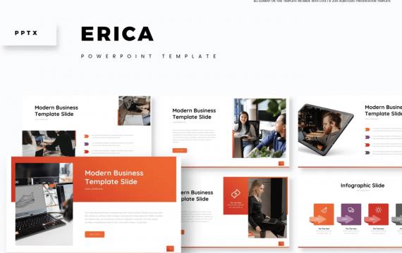Ericia-红色背景PPT模板