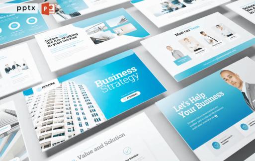 商业策略蓝色Powerpoint模板