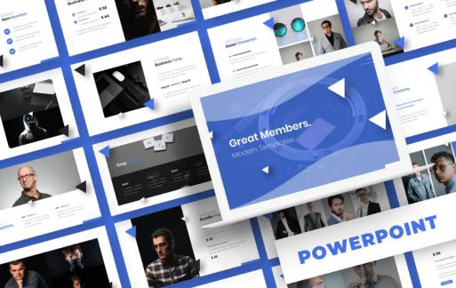 蓝色图形Powerpoint模板