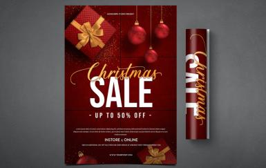 圣诞销售红色传单海报模板