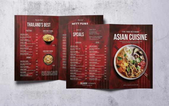 双折A4红色背景食物菜单模板