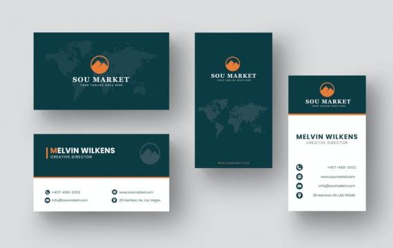 地图背景商务名片设计模板素材