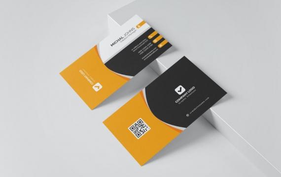 橙色商务名片模板下载