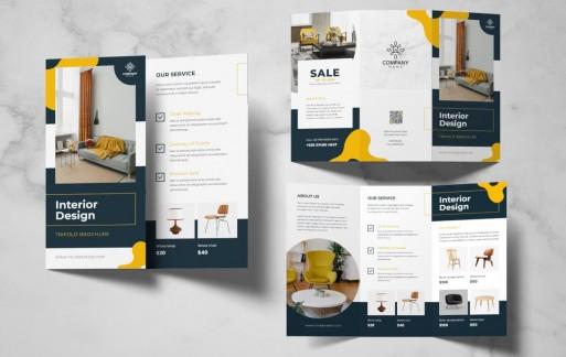 室内设计三折小册子 三折页设计素材模板下载