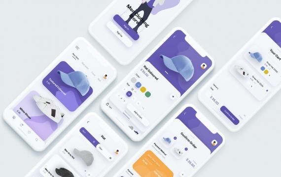 Meg-时尚商店移动应用UX,UI模板app素材下载