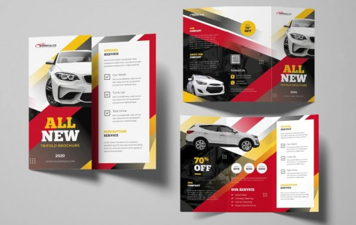汽车三折小册子 三折页设计素材模板下载