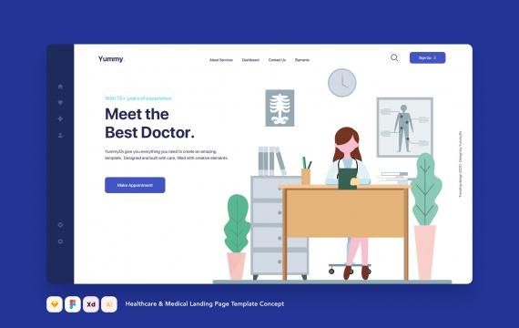 医疗保健和医疗着陆页模板概念网页banner图-03