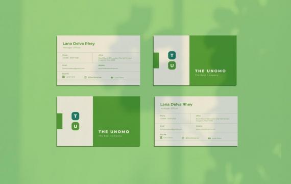 UNOMO绿色简单的名片设计模板素材